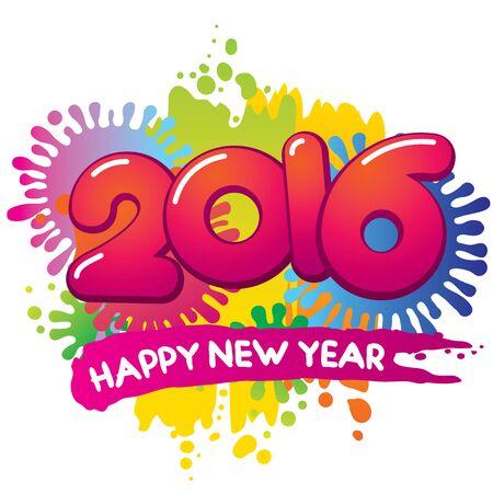 Happy New Year 2016 vector card