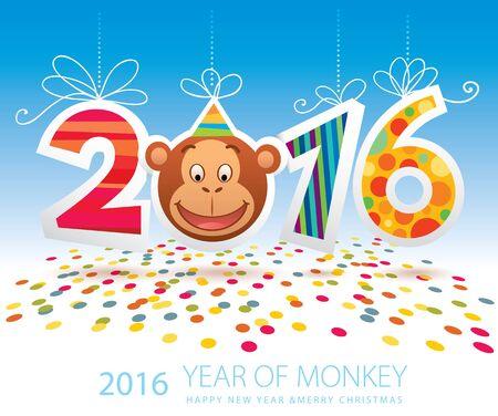 2016 Year of Monkey vector card