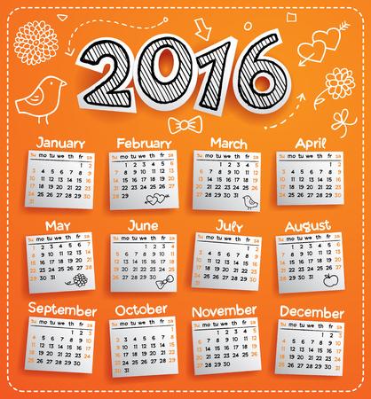 New Year 2016 vector doodle calendar template