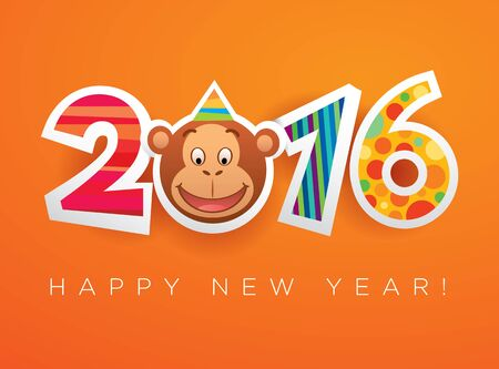 clip art numbers: Vector New Year 2016 card template