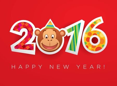 Vector New Year 2016 card template