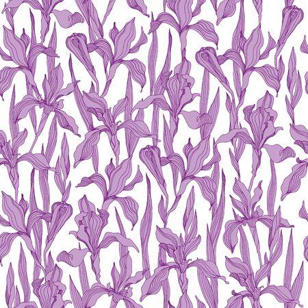 Vector seamless Iris wallpaper pattern
