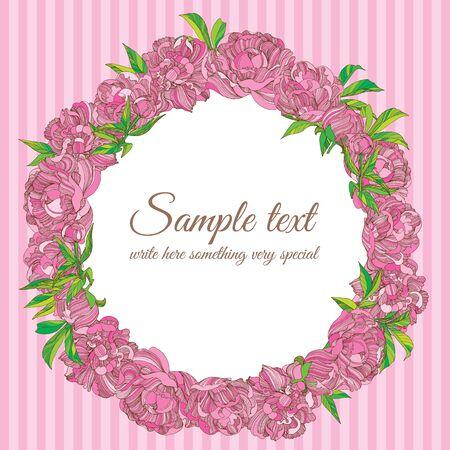 Vector peony flower wreath frame illustration Illustration