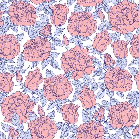 Vector seamless rose flower background texture