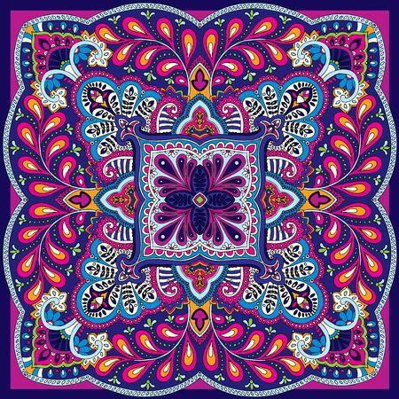 illustration of oriental indian kerchief ornament Illustration
