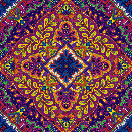 illustration of seamless paisley square kerchief ornament