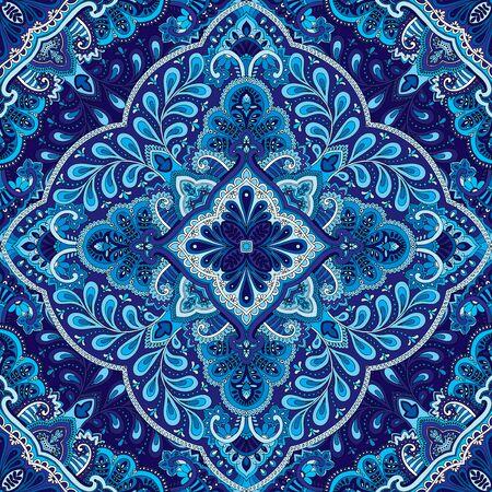 kerchief: illustration of seamless paisley square kerchief ornament