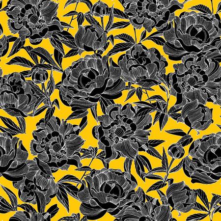 Elegant illustration of peony flower seamless floral pattern background