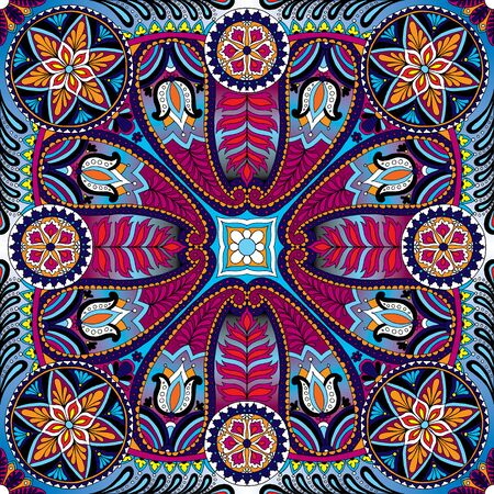 kerchief: Vector illustration of boho oriental indian kerchief ornament