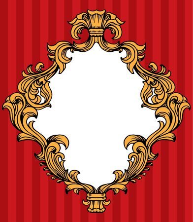 acanthus: illustration of baroque acanthus leaves frame Illustration