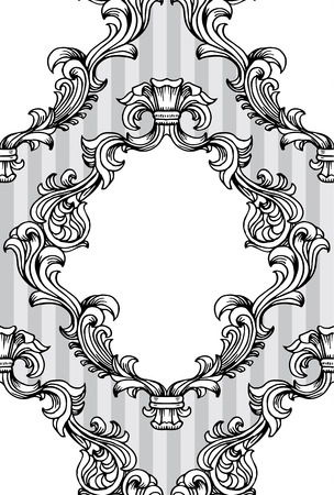 acanthus: illustration of baroque acanthus leaves frame seamless wallpaper pattern