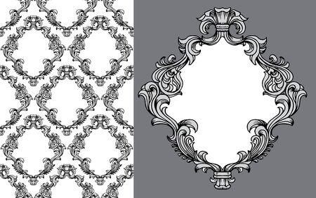 illustration d'acanthe baroque leaves frame motif de papier peint sans soudure avec un élément d'image unique
