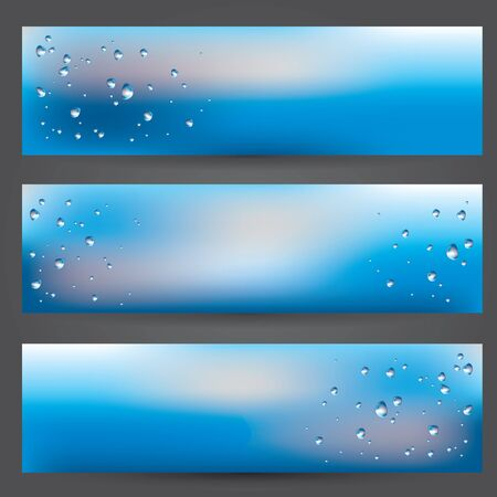 set of banners illustration of glass covered with drops of water after the rain and blurred cloudy sky background Stock Photo