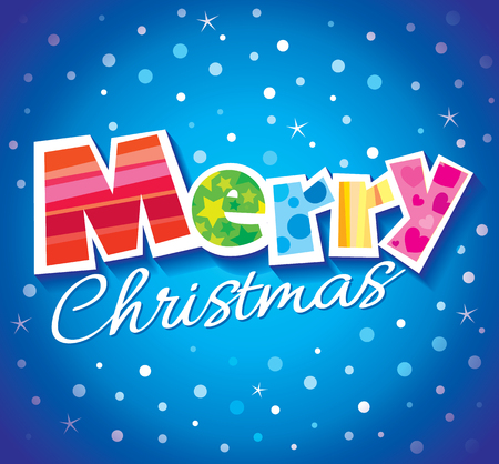 Vector illustration of sign wishing Merry Christmas