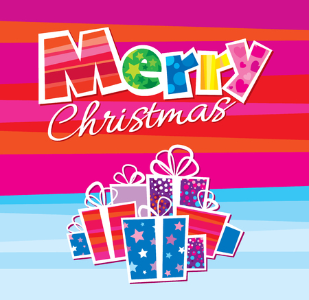 Vector illustration of sign wishing Merry Christmas and giftboxes