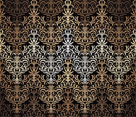 Vector seamless damask wallpaper pattern