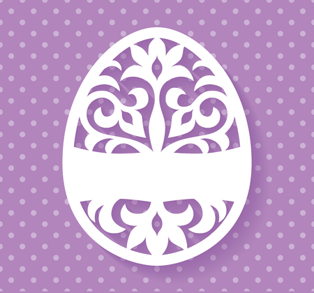 lasercutting: Vector Template for Laser cut Easter egg greeting card, tag, invitation or interior element with floral ornament.