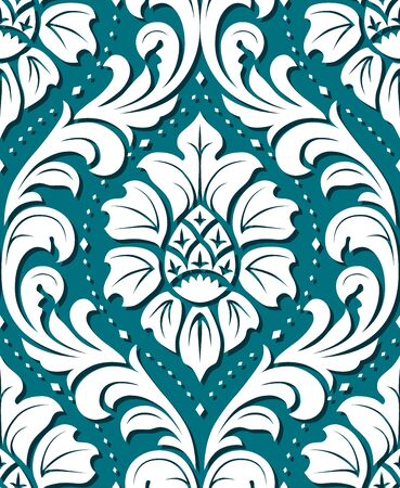 Blue Vector seamless damask ornament background