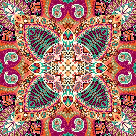 India seamless paisley kerchief pattern, decorative textile, wrapping, decor. Bohemian design