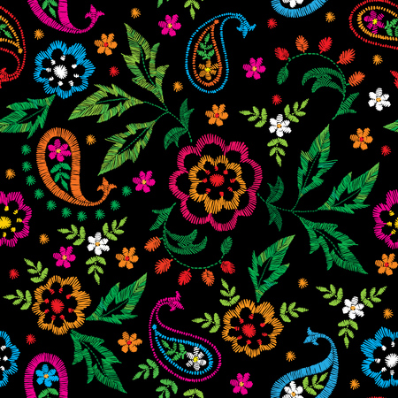 Embroidery vector seamless decorative floral pattern, ornament for textile decor. Bohemian handmade style background design.
