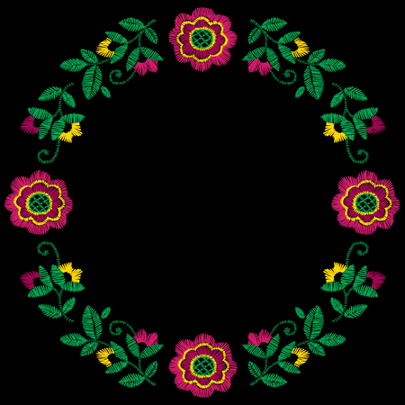 Embroidery decorative floral frame vector pattern, ornament for textile decor. Illustration