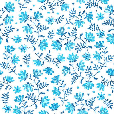 Nahtlose Muster Mit Stickstichen Nachahmung Blume Und Grünes Blatt ...