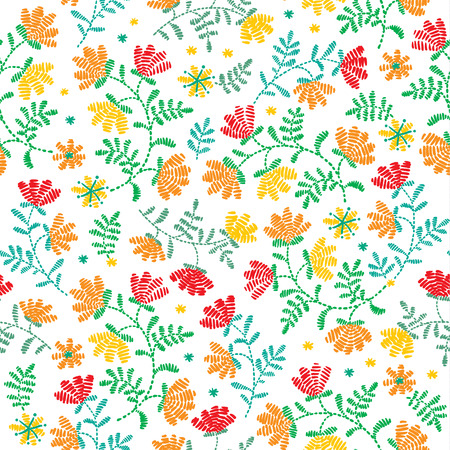 Vector seamless decorative floral embroidery pattern, ornament for textile decor. Bohemian handmade style background design.