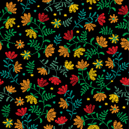 Decorative floral embroidery pattern, ornament for textile decor. Ethnic handmade style background design.