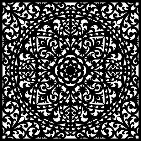 Painel decorativo com padrão de renda, elegante ornamento quadrado para corte a laser ou escultura em madeira, papel decorativo elemento decorativo, fundo elegante de vetores para cartão de convite de casamento. Ilustración de vector