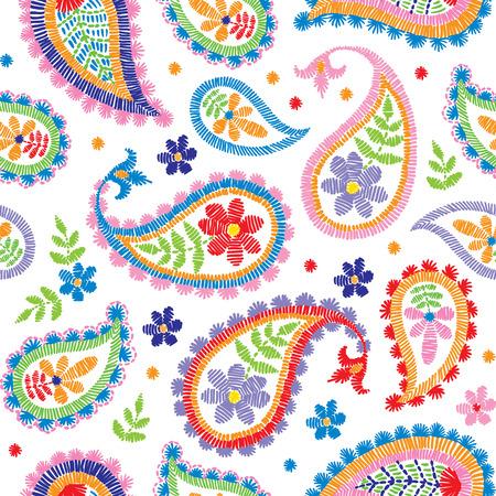 Ein dekoratives Blumenmuster der nahtlosen Stickerei des Vektors, Verzierung für Textildekor. Bohemian handgemachte Stil Hintergrund Design. Standard-Bild - 88256119