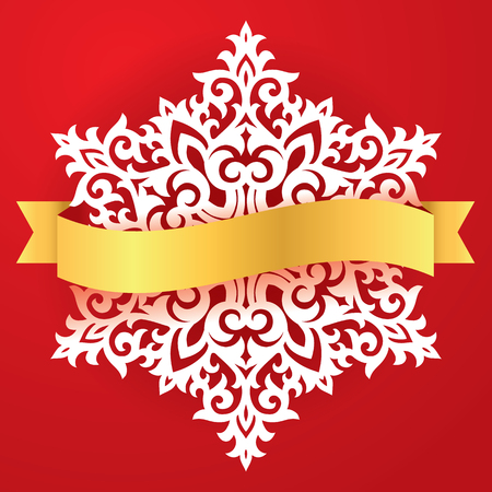 A vector snowflake laser cut template. Cutout pattern of Christmas or New Year decoration. Illustration