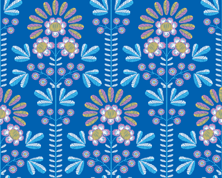 Vector seamless decorative floral embroidery pattern, ornament for textile decor. Illustration