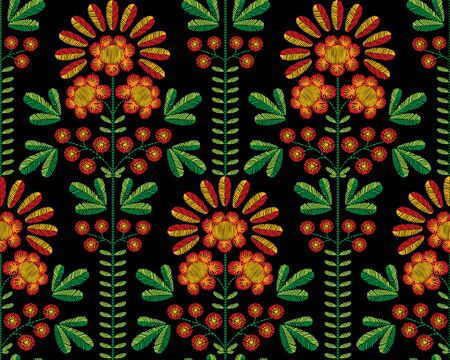 Vector seamless decorative floral embroidery pattern, ornament for textile decor