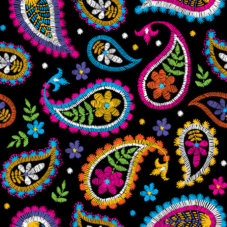 Decorative floral embroidery seamless pattern design. 向量圖像