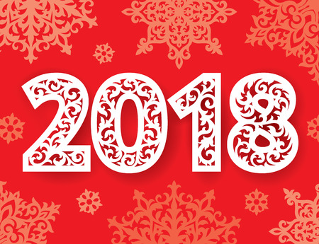 Ornate new 2018 year numbers for laser cutting with pattern of snowflakes. Cutout paperwork. Laser cut plastic or wood panel. Illustration
