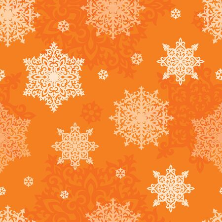 Vector seamless pattern of snowflakes. New Year or Christmas background texture for greeting card, gift box wrapping, decoration. Illustration