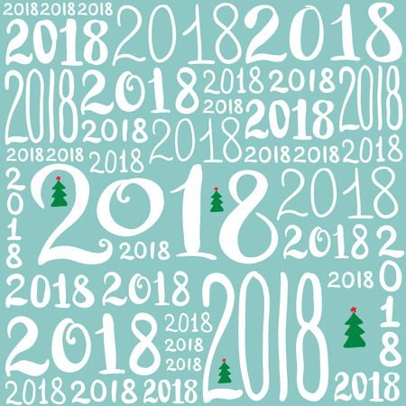 Vector pattern of 2018 number. New Year background texture for greeting card, giftbox wrapping, decoration.
