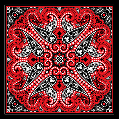 Vector bandana print with paisley ornament. Cotton or silk headscarf, kerchief square pattern design, oriental style fabric.