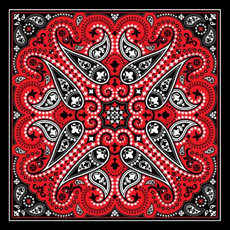 Wektor nadruk bandany z ornamentem paisley. Bawełniana lub jedwabna chusta, kwadratowy wzór chusty, tkanina w stylu orientalnym.