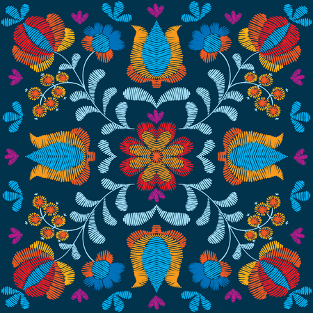 Embroidery floral pattern, decorative ornament for textile, pillow or bandana decor. Bohemian handmade style background design. Illustration