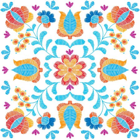 Embroidery floral pattern, decorative ornament for textile, pillow or bandana decor. Bohemian handmade style background design. Stock Photo