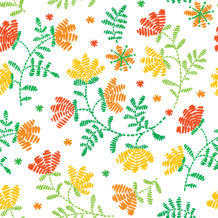 Vector seamless decorative floral embroidery pattern, ornament for textile decor. Ethnic handmade trendy style background design.