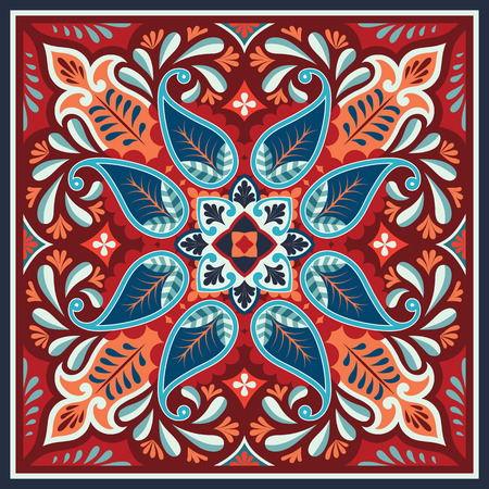 Vector seamless bandana print with paisley ornament. Cotton or silk headscarf, kerchief square pattern design, oriental bohj style fabric. Stock fotó - 92778556
