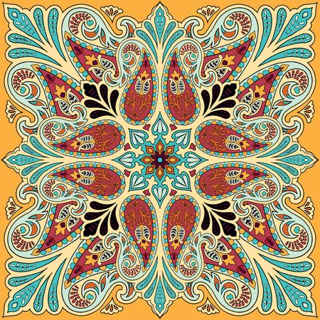 Vector bandana print with paisley ornament. Silk headscarf, kerchief square pattern design, oriental style fabric. Illusztráció