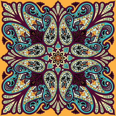 Vector bandana print with paisley ornament. Silk headscarf, kerchief square pattern design, oriental style fabric. Illusztráció
