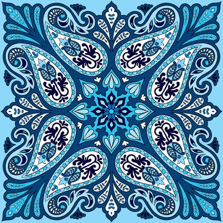 Vector bandana print with paisley ornament. Silk headscarf, kerchief square pattern design, oriental style fabric. Vettoriali