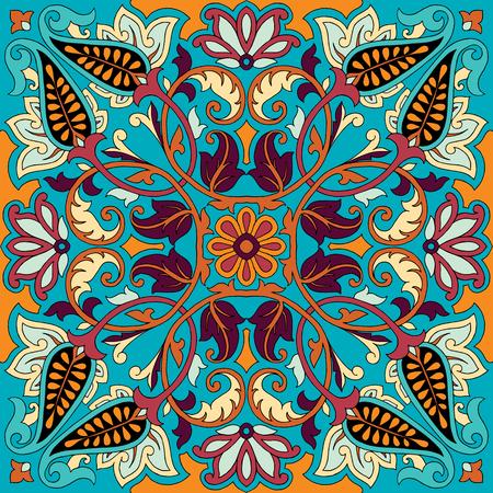 Vector paisley kerchief ornament print. Silk headscarf, pillow, interior decor square pattern design, oriental style fabric.