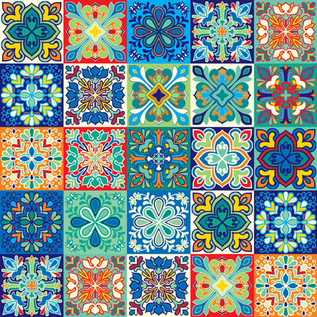 Seamless vector background of colorful tiles with Moroccan, Arabic, Portuguese ornaments.