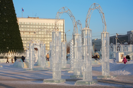 PERM - FEBRUARY 17  Ice town at sunny day, on February 17, 2012 in Perm, Russia  During winter holidays  December 25 - January 7  daily in town there were up to 83 thousand people