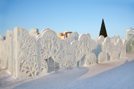 PERM - FEBRUARY 17  Trees wall in Ice town, on February 17, 2012 in Perm, Russia  During winter holidays  December 25 - January 7  daily in town there were up to 83 thousand people
